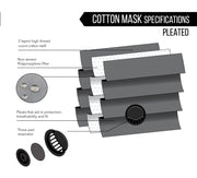 Black Cotton Pleated Mask - with respirator