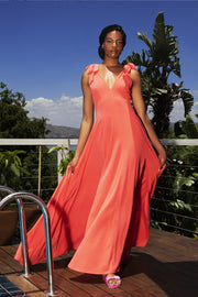 ERRE - coral fit and flare bow dress