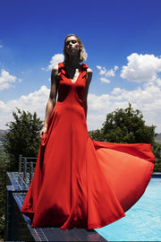 ERRE - red bow fit and flare dress
