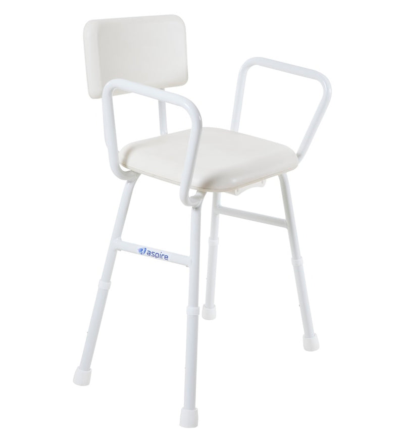 SHOWER PADDED STOOL WITH BACK REST