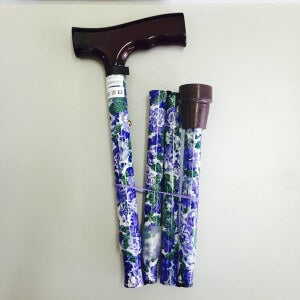 FOLDING WALKING STICK - (BLUE FLORAL)