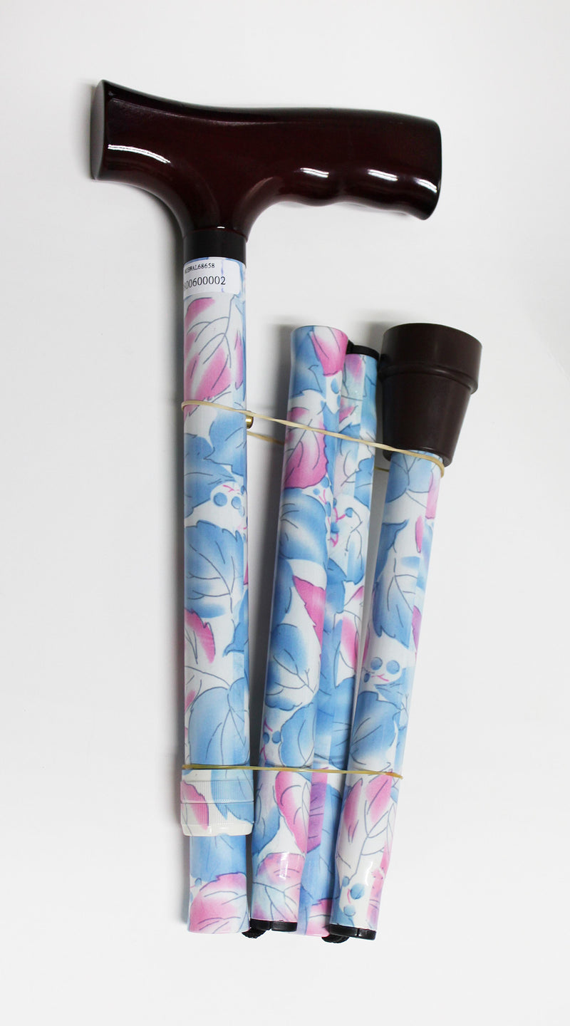 FOLDING WALKING STICK - (PINK/BLUE FLOWER)