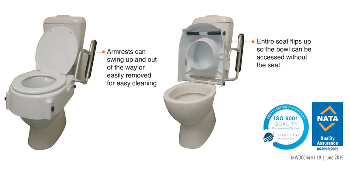 FREEDOM TOILET SEAT RAISER WITH FLIP BACK ARMRESTS