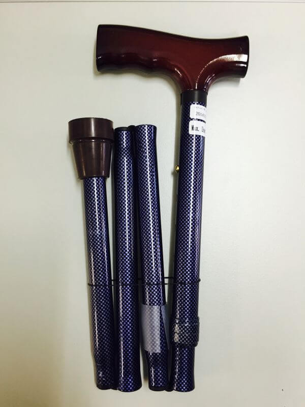 REDGUM FOLDING WALKING STICK - BLUE CHECK