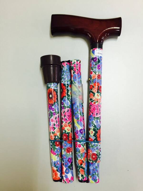 REDGUM FOLDING WALKING STICK - SUMMER FLORAL