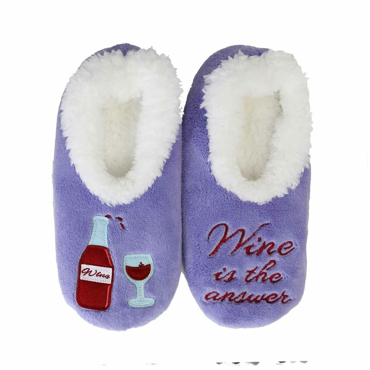 SLUMBIES SLIPPERS - WINE IS THE ANSWER