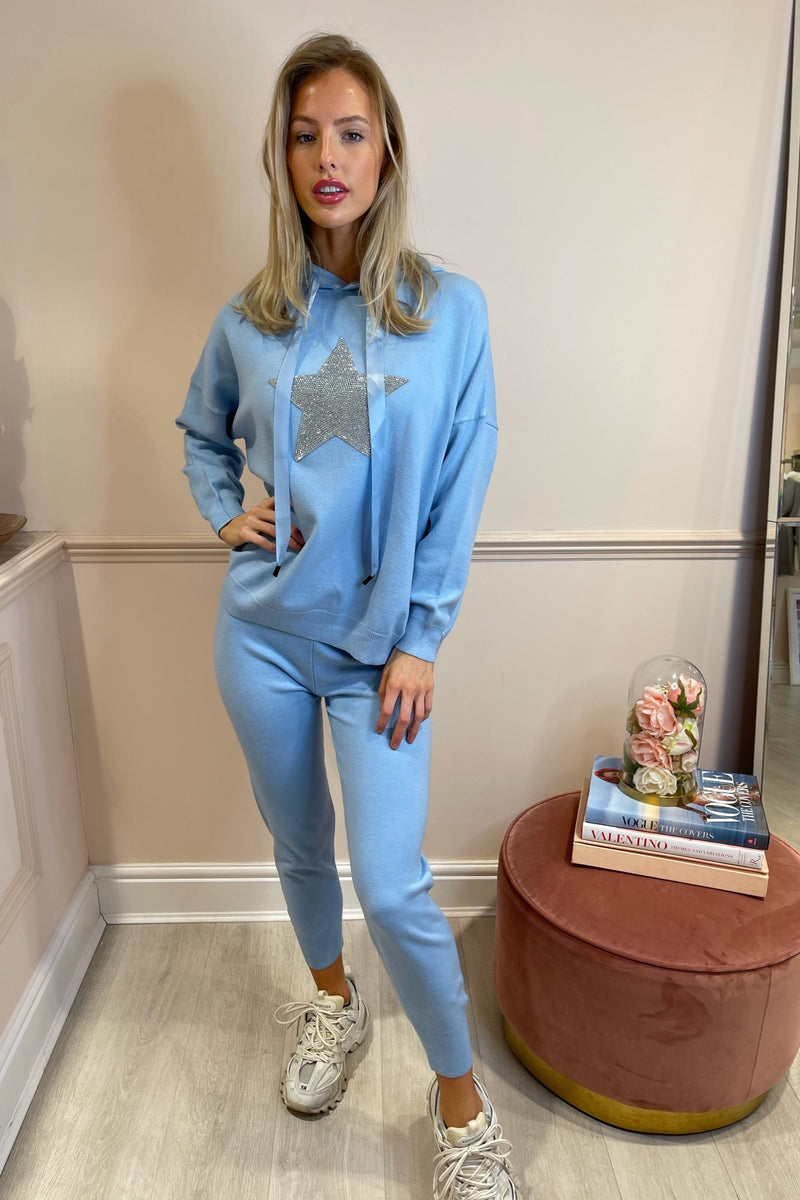 BLUE EMBELLISHED STAR TRACKSUIT