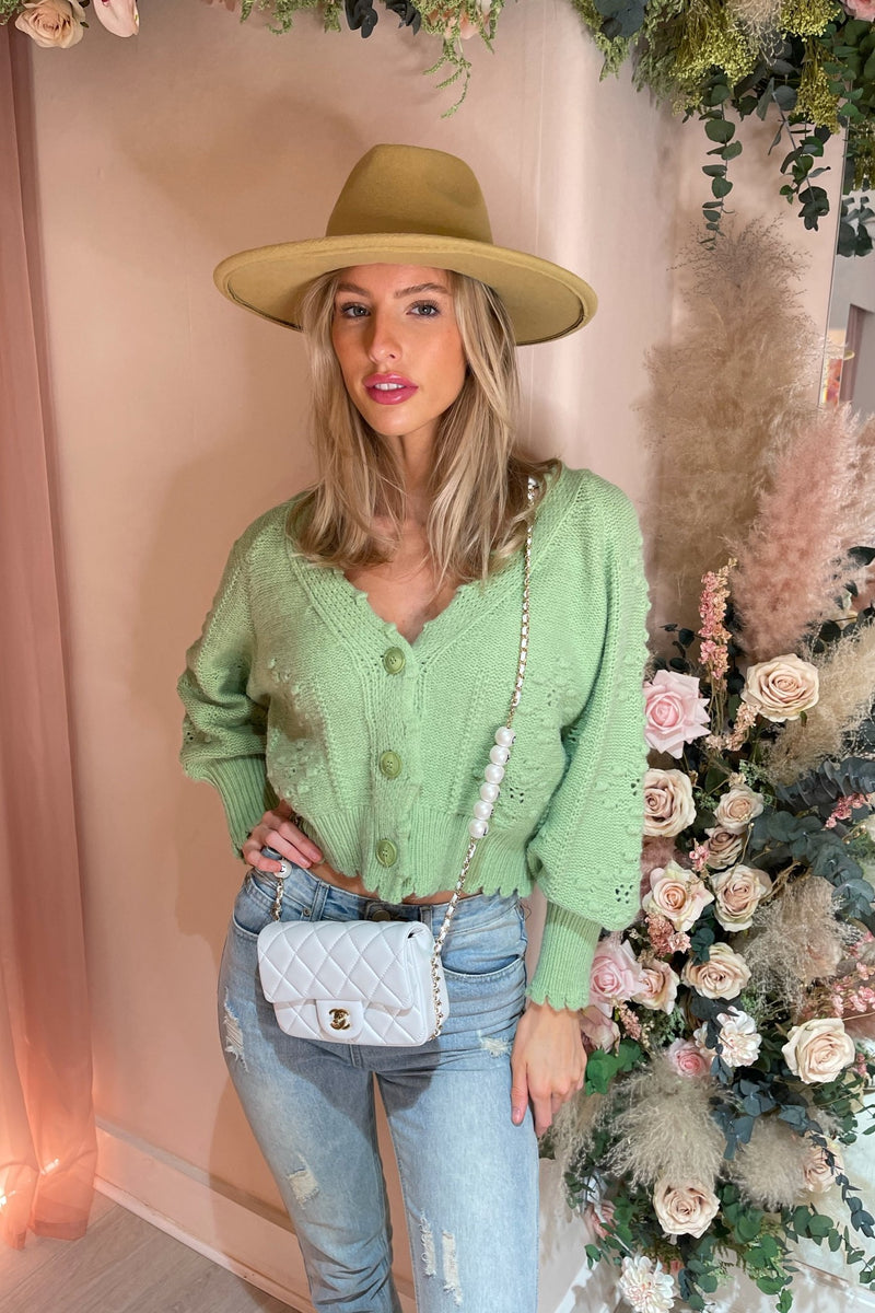 GREEN BOBBLE KNIT CROPPED CARDIGAN