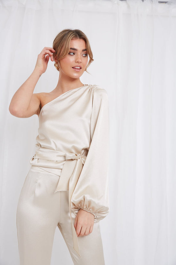 AMARI ONE SHOULDER BLOUSE CHAMPAGNE