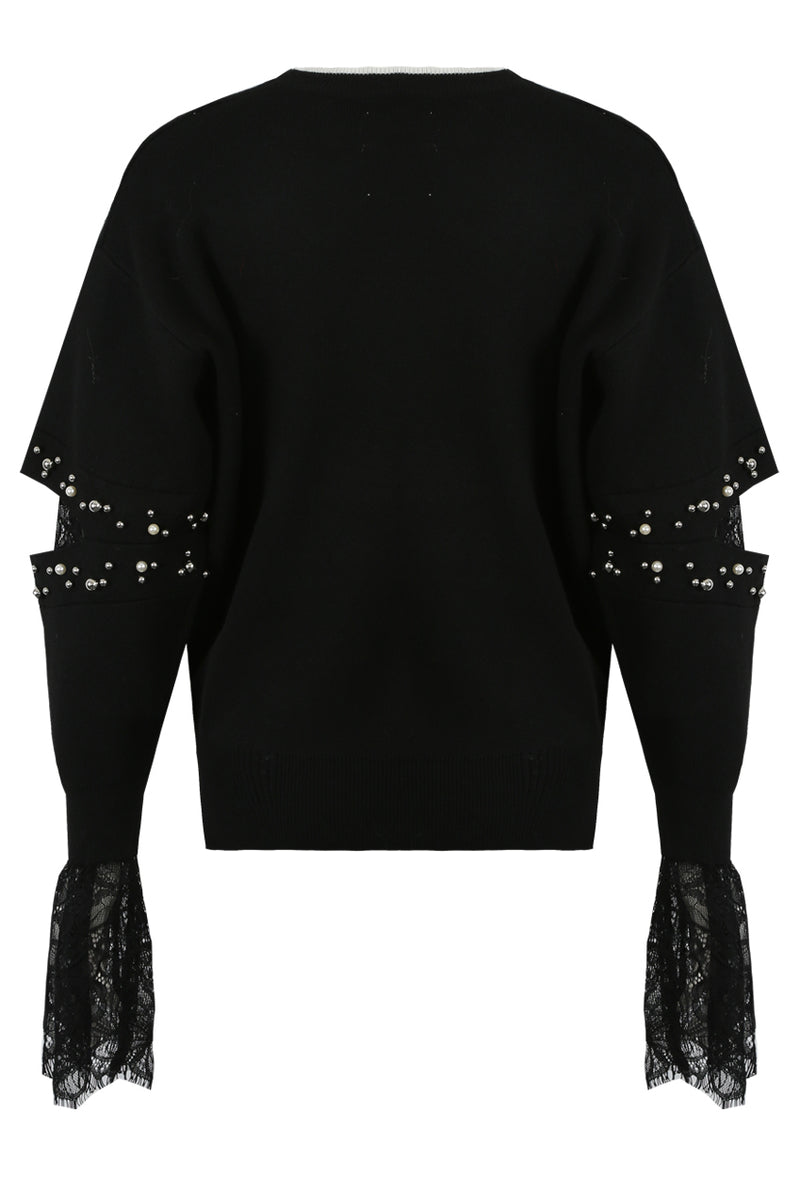 image 6 of Black Pearls Trim Lace Inlay Jumper