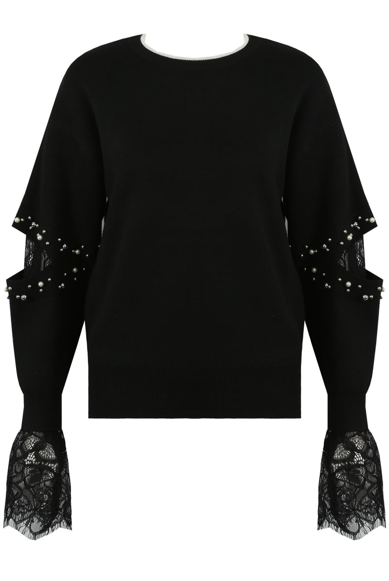 image 4 of Black Pearls Trim Lace Inlay Jumper