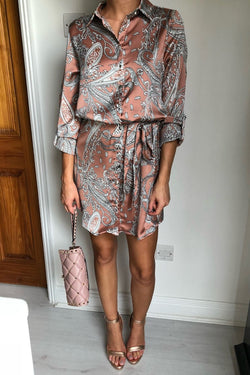 image 1 of PAISLEY SWIRL SILKY SHIRT DRESS NUDE