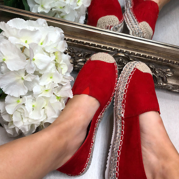 image 1 of ARUSHA RED FAUX SUEDE ESPADRILLES