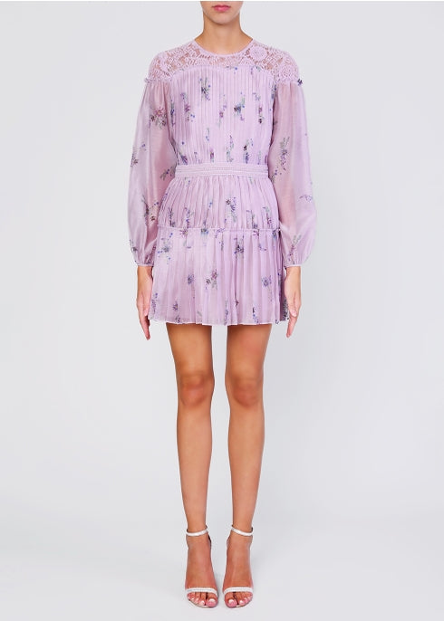 TRUE DECADENCE Lilac watercolour organza pleated mini dress
