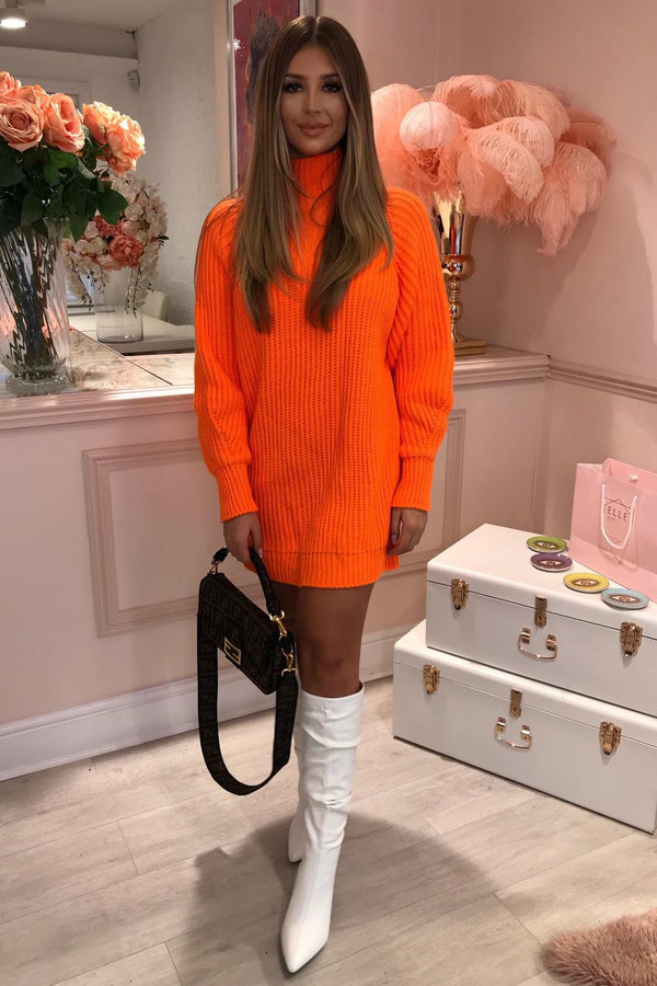NEON ORANGE HIGH NECK KNITTED JUMPER