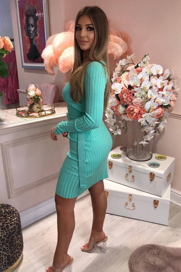 MARLA TURQUOISE KNITTED DRESS