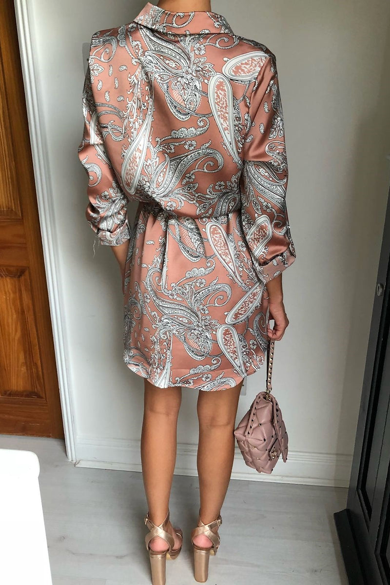 image 2 of PAISLEY SWIRL SILKY SHIRT DRESS NUDE