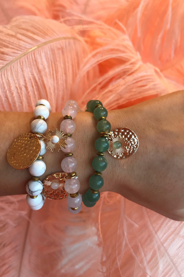 WHITE/LIGHTPINK/GREEN BEADED BRACELETS
