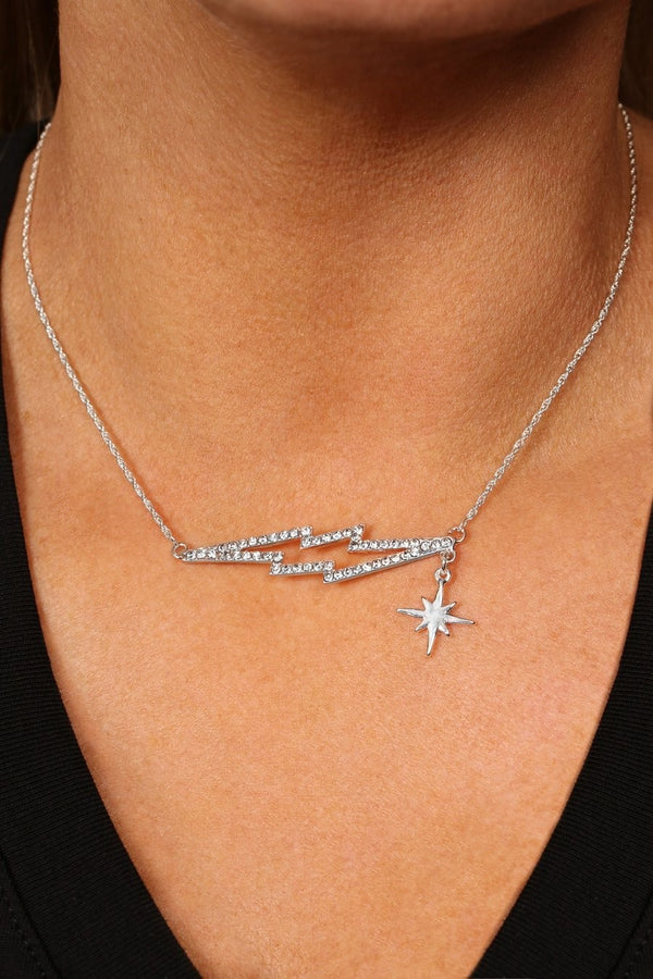 KT X BIBI CRYSTAL LIGHTENING BOLT NECKLACE