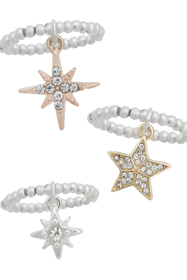 KT X BIBI SET OF STAR STRETCH RINGS
