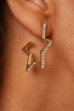 KT X BIBI CRYSTAL LARGE GOLD STAR EARRINGS