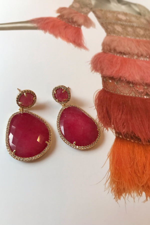 DARK PINK DROP EARRINGS