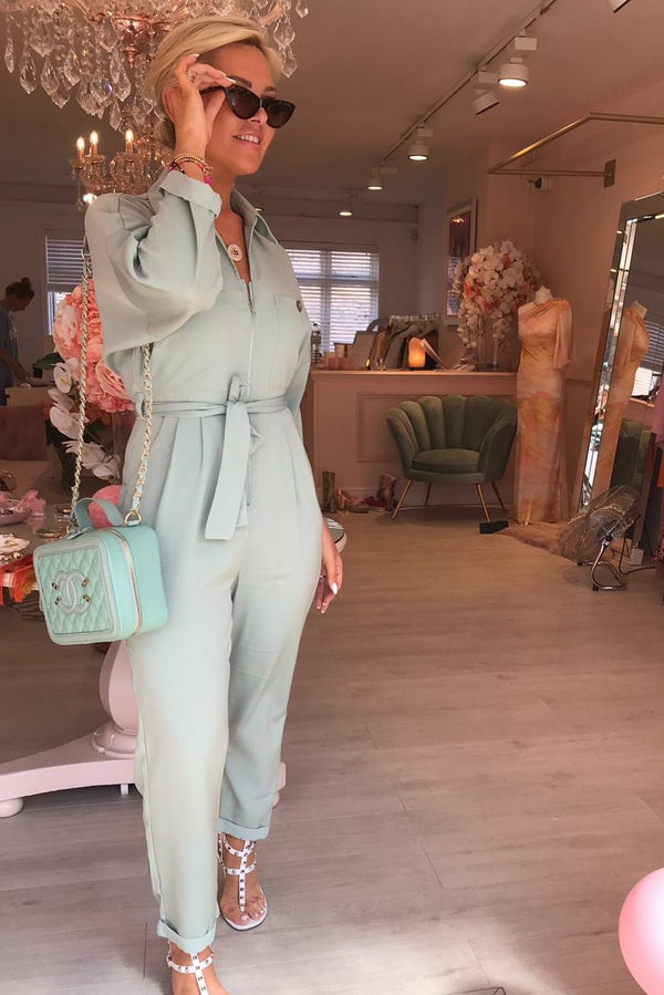 MILITARY STYLE JUMPSUIT MINT GREEN