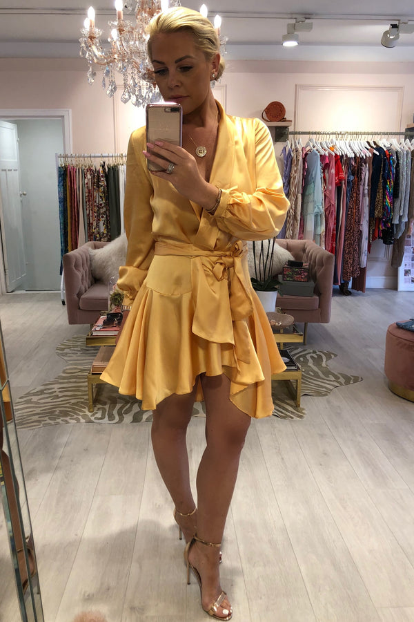 SIENNA YELLOW SILKY WRAP DRESS