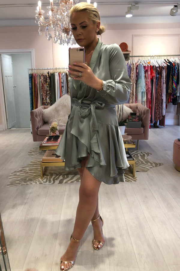 SIENNA LIGHT GREEN SILKY WRAP DRESS