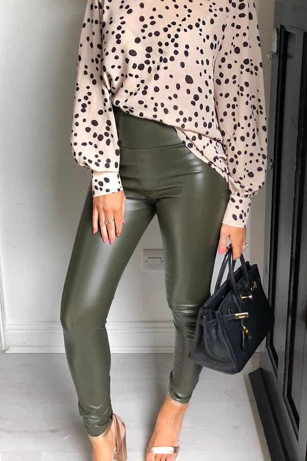 image 1 of KHAKI FAUX LEGGING LEGGING