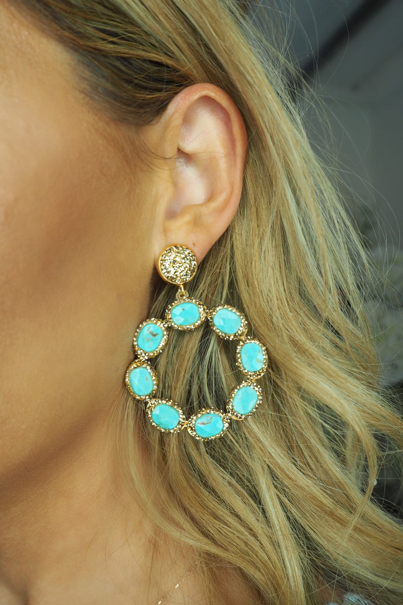 image 1 of LUNA CRYSTAL CIRCLE EARRINGS TURQUOISE AND GOLD