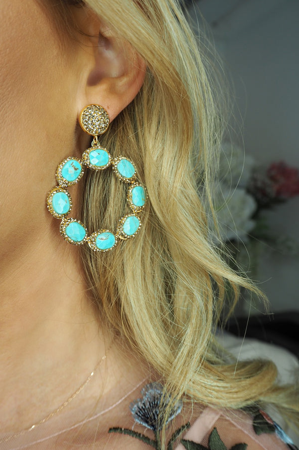 image 2 of LUNA CRYSTAL CIRCLE EARRINGS TURQUOISE AND GOLD