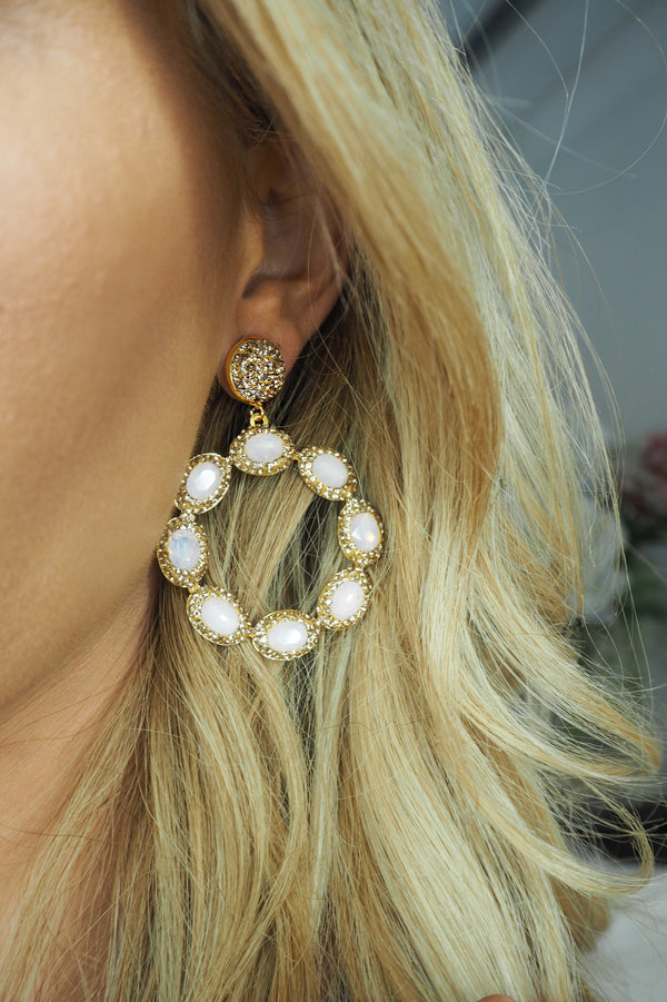 image 1 of LUNA CRYSTAL CIRCLE EARRINGS GOLD WITH PINK