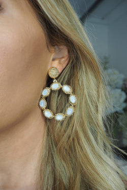 image 1 of LUNA CRYSTAL CIRCLE EARRINGS GOLD & PEARLESCENT