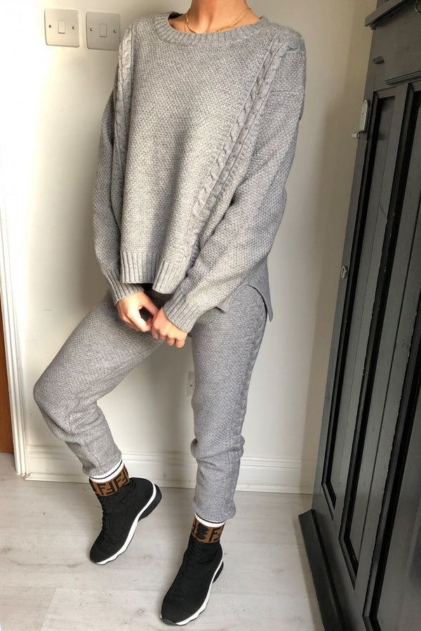 image 1 of CABLE KNIT TRAC GREY