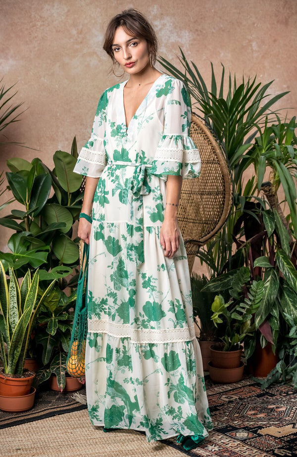 HOPE & IVY Bell Sleeve Maxi Dress With Tie Waist