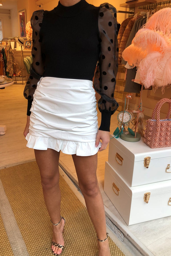 PAIGE PU LEATHER FRILL SKIRT - WHITE