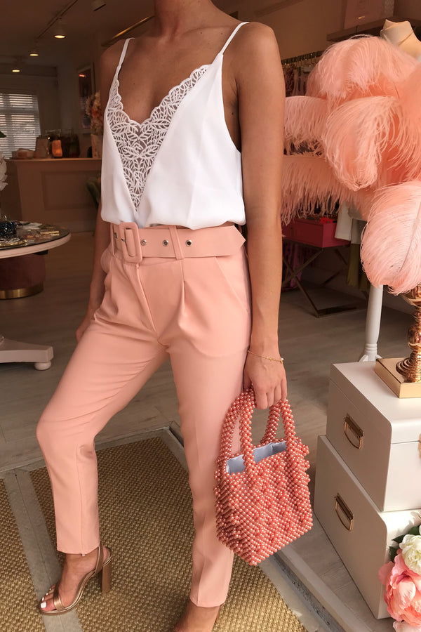 IZZIE LIGHT PINK TAILORED TROUSER WITH BELT