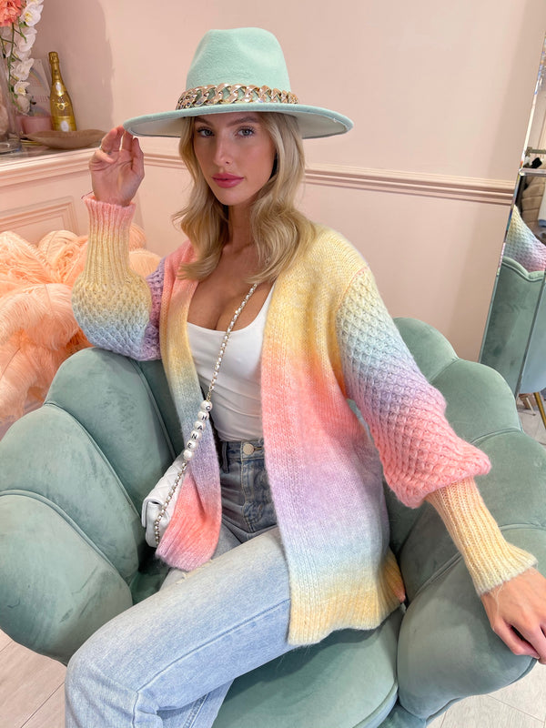 LISA PASTEL WOVEN KNIT SLEEVE OPEN CARDIGAN