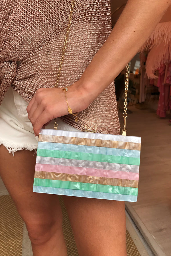 PASTEL MULTI COLOURED STRIPE BOX BAG