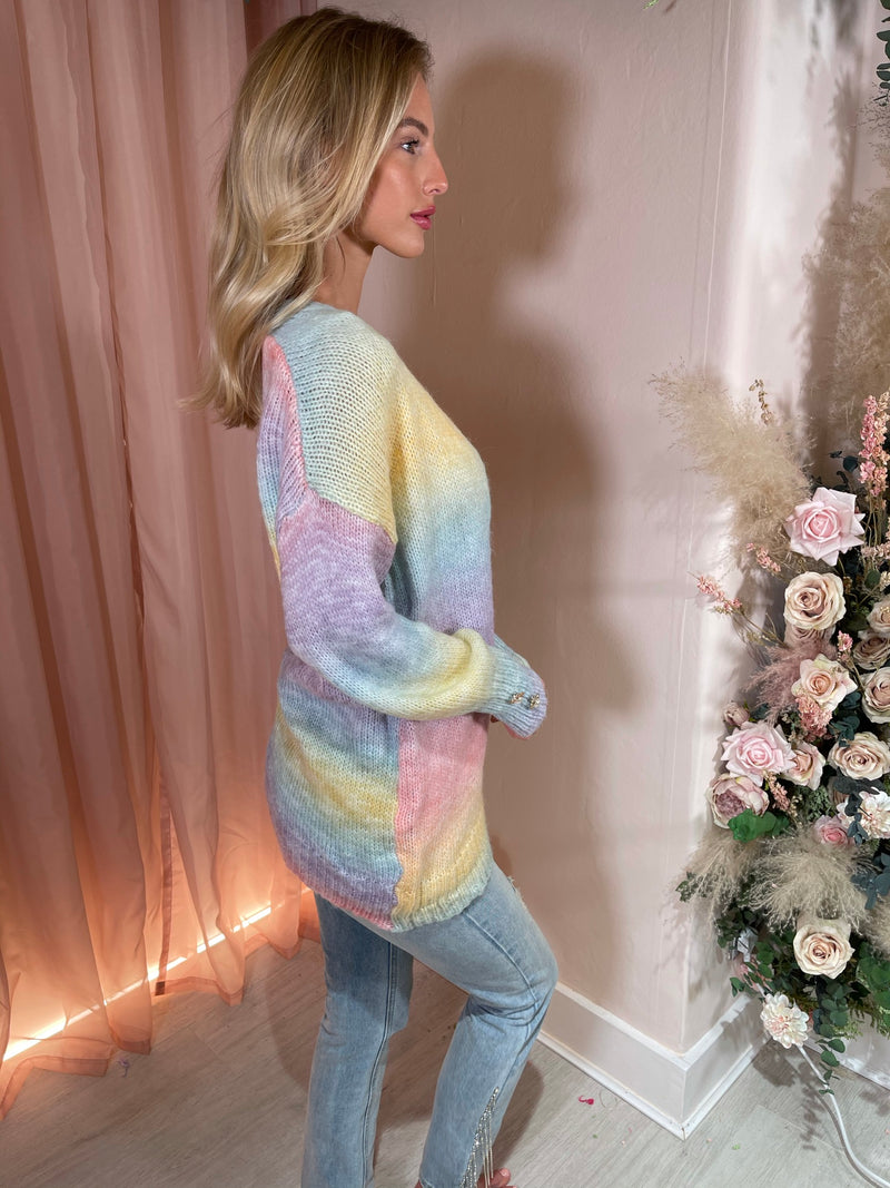 MOLLIE PASTEL WOVEN KNIT LONGER CARDIGAN WITH PEARL BUTTONS