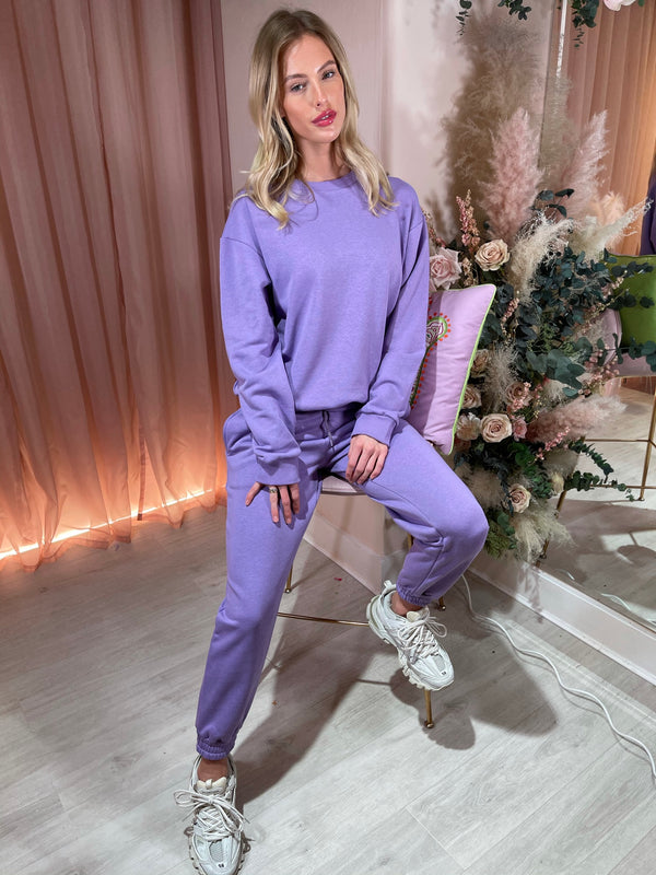 ROSIE PLAIN PURPLE TRACKSUIT SET