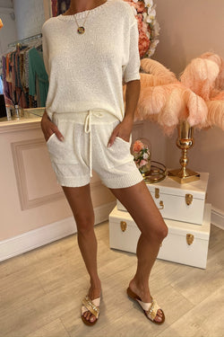 LOLA CREAM KNITTED OVER SIZED TOP & SHORT SET