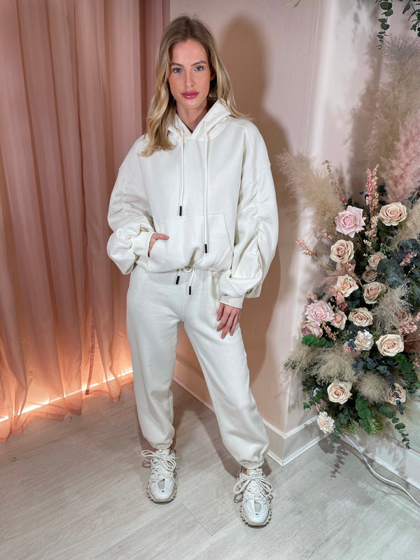 WHITE RUCHED SLEEVE HOODIE & JOGGER SET