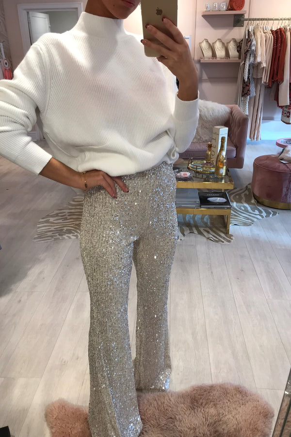 SEQUIN BEIGE FLARED TROUSER