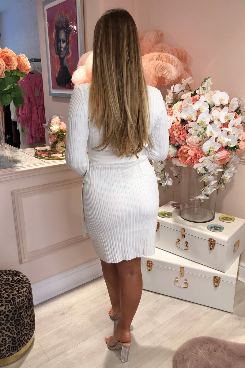 MARLA WHITE KNITTED DRESS