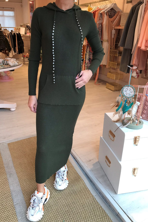 STELLA GREEN HOODED MAXI DRESS