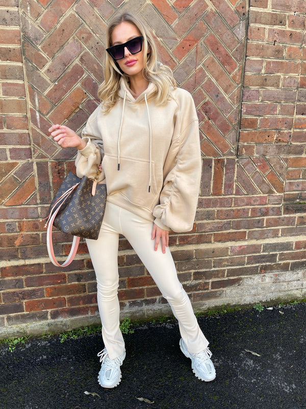 CREAM RUCHED HOODIE WITH RIBBED LEGGINGS