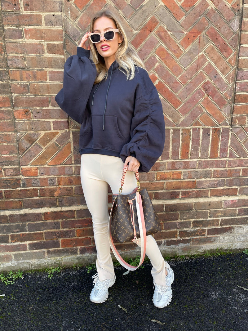 NAVY RUCHED HOODIE WITH CREAM RIBBED LEGGINGS