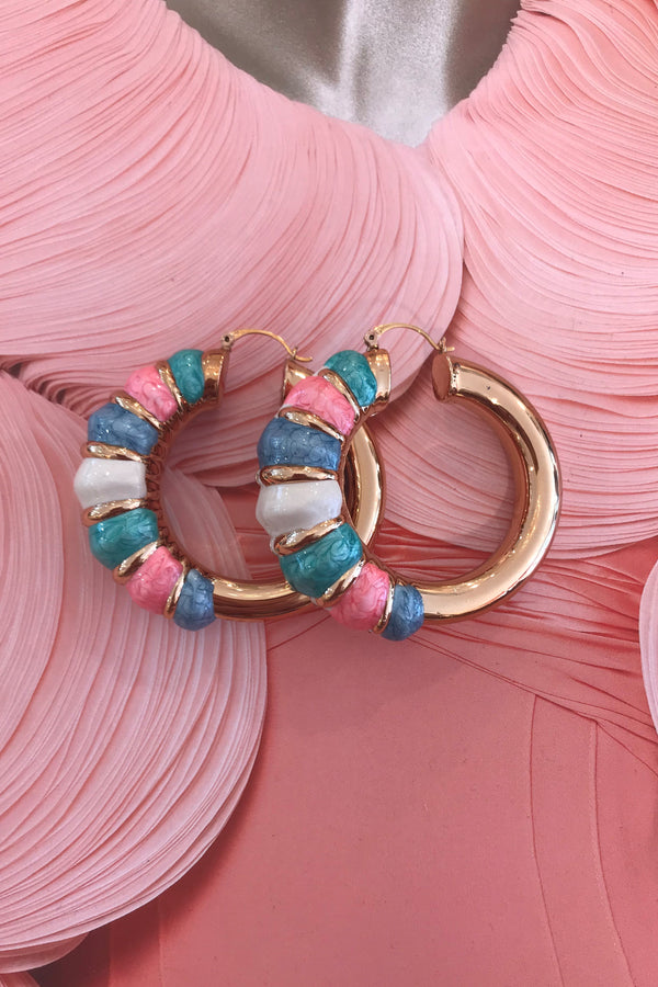 TIANA PINK/BLUE/GOLD EARRINGS